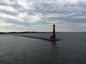View from the top of Lake Express Ferry from Muskegon to Milwaukee